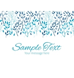 Blue forest horizontal border greeting card vector