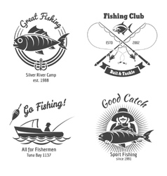 Fishing logo and emblems vintage set vector image