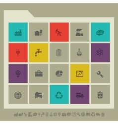 Industrial icon set multicolored square flat vector