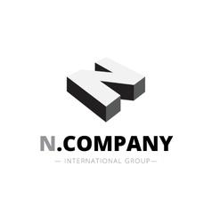 Isometric monochrome n letter logo company vector