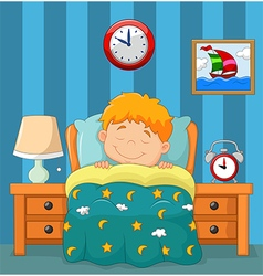 The boy sleeping in the bed vector