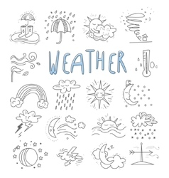 Hand draw cartoon weather events doodle icons vector
