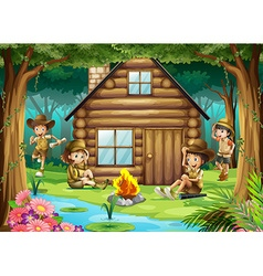 Boys and girls camping out in the woods vector image