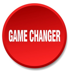 Game changer red round flat isolated push button vector