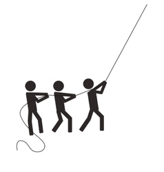 People pictogram pulling cord icon vector