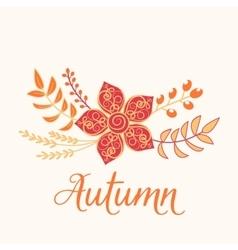 Autumn floral card nature symbol vector
