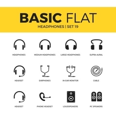 Basic set of headphones icons vector