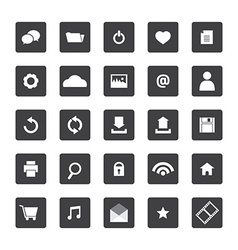 Black and White Website Icons Set vector image vector image