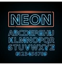 Blue neon lamp letters font show vegas vector