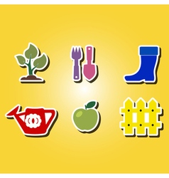 Color icons with horticulture vector