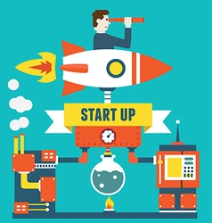 Concept of business start up and optimization vector