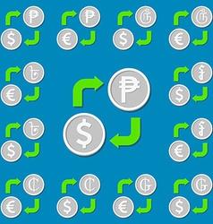 Currency exchange set 5 euro dollar peso guarani vector