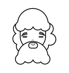 Face man with close eyes and long beard vector