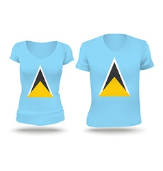 Flag shirt design of saint lucia vector