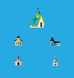Flat icon building set of christian architecture vector