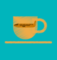 Flat icon in shading style airplane cup of coffee vector