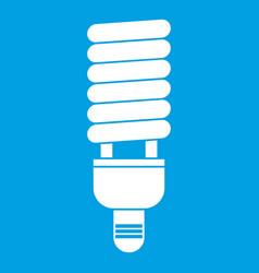 Fluorescent bulb icon white vector