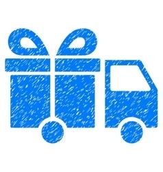Gift delivery van grainy texture icon vector
