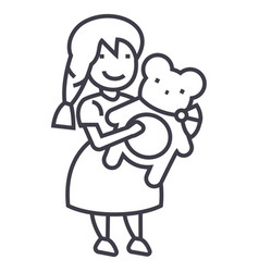 girl with teddy bear line icon sign vector image vector image