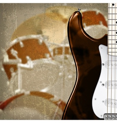Grunge background with electric guitar and drum vector