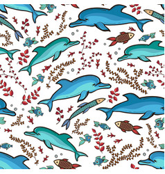 hand drawn dolphin fish pattern vector image vector image