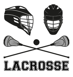 Lacrosse sticks and helmets Flat style vector image vector image