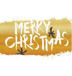 Merry Christmas Lettering with gold texture and vector image vector image
