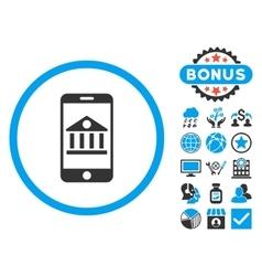 Mobile Bank Flat Icon with Bonus vector image vector image