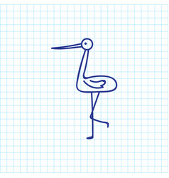 of zoo symbol on stork doodle vector image vector image