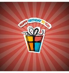 Retro Happy Birthday Red Background vector image vector image