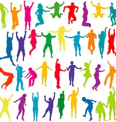 Silhouettes of children and young people jumping vector image vector image