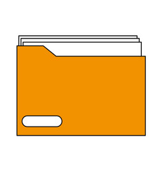 Sketch color silhouette folder with documents vector