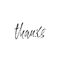 thanks handwritten inscription hand drawn modern vector image
