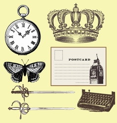 Vintage items vector