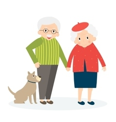 Happy old couple together seniors couple with dog vector