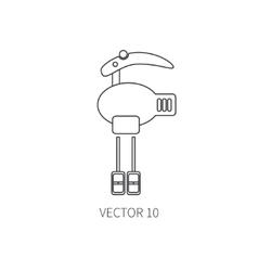Line flat kitchenware icons - mixer vector image