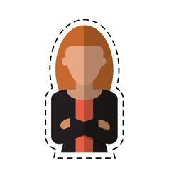 Woman leader job business cross arms cutting line vector