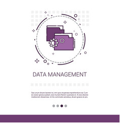 Data management content marketing web banner with vector