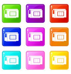 Inkjet printer cartridge icons 9 set vector