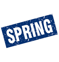 Square grunge blue spring stamp vector