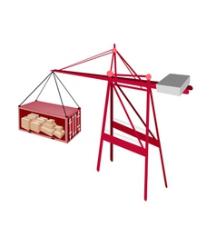 Red shipping container being hoisted by a crane vector