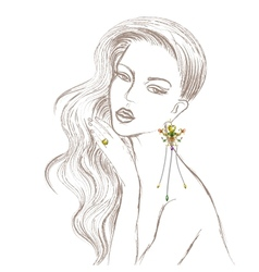 Beautiful lady with diamond earring and ring vector