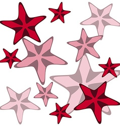 Decorative card with cartoon starfishes vector