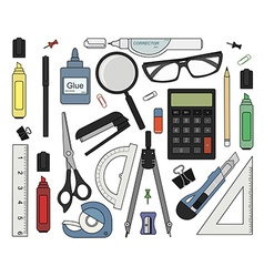 Set of color stationery tools vector
