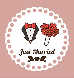 Wedding design over pink background vector