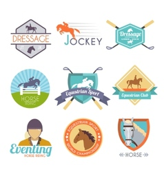 Jockey label set vector