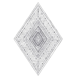 Original drawing ethnic tribal doddle rhombus 3 vector