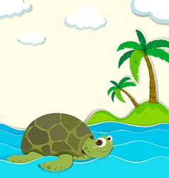 Turtle swimming in the ocean vector