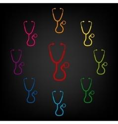 Stethoscope icon set vector image