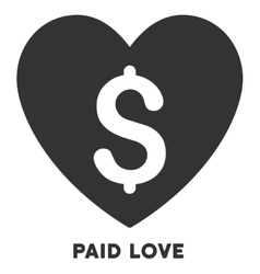 Paid love icon with caption vector